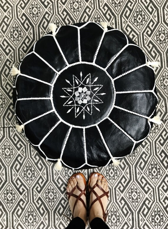 SALE Valentine's Day 30% OFF >> Black with White Stitching Moroccan Leather Pouf with Tassels & Pompoms >>  Home gifts, wedding gifts