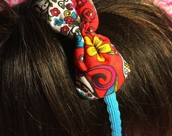 Red Flowers Bow - Blue Headband - Day of the Dead - Sugar Skull - Hand Made Ink - Teen - Adult