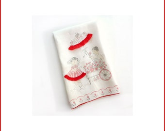 Novelty Kitchen Towel with Red Ribbon Trim