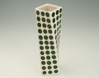 Ceramic Flower Vase, Forest Green Polka Dots, Tall Modern Pottery Vase, Polka Dot Twisted Vase, Hand Painted Flower Vase
