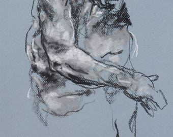 "Classical Male Figure Drawing - Drawing 477 - 9 x 12"" charcoal and pastel on blue paper, original drawing"
