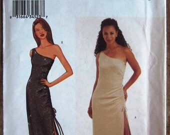 Misses Close-fitting, Lined Dress Ankle Length or Lower-calf with Side Drawstring, One Shoulder Sizes 6 8 10 Butterick Pattern 3370 UNCUT