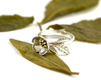 Camellia Ring in Sterling Silver - Tea Plant Jewelry - Camellia Sinensis Ring - Made to Order - Tea Ring