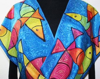 Handpainted Silk Scarf in Turquoise, Red, Pink, Yellow CARIBBEAN FISH. Size 11x60. Handmade Birthday Gift, Christmas Gift. Gift-Wrapped.
