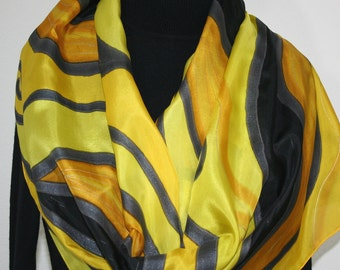 Silk Scarf Hand Painted Silk Shawl Yellow Black Hand Dyed Silk Scarf GOLDEN HARVEST Large 14x72 Birthday Gift Scarf. Gift-Wrapped Silk Scarf