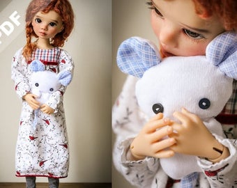 "PDF Pattern: ""Nightie Nite Wishes"" for MSD 1/4 Ball-Jointed Dolls"