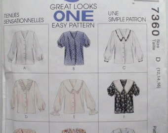 Romantic Blouse Sewing Pattern - McCall's 7360 - 9 Great Looks - Sizes 12-14-16, Bust 34 - 38, Uncut