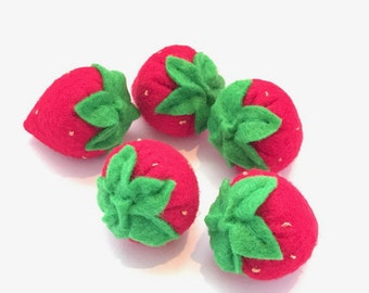 Felt food strawberry set eco friendly children's play pretend food for toy kitchen, felt strawberries, toy strawberries,