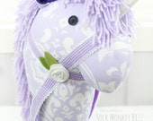 Last One - Unicorn Stick Horse, Handmade Ride-On Hobby Horse Toy, Lavender Damask, Limited