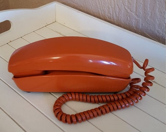 Working Orange Rust Rotary Trimline Telephone by Western Electric - Oak Hill Vintage