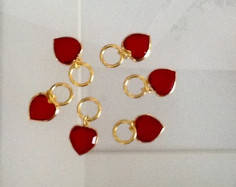 6 Red Swarovski heart charms in gold plated bezel setting