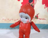 Vintage Bisque Kewpie Doll, Red Pajamas, Snow Suit, Little Imp, Hard to Find, Jointed Arms, Frozen Legs, Made in Japan