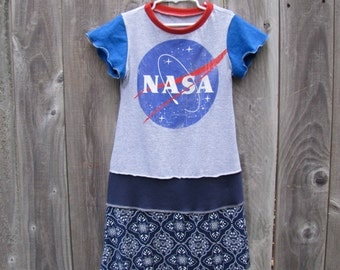 I Love You to the Moon and Back NASA Upcycled Dress Size 6/ 7