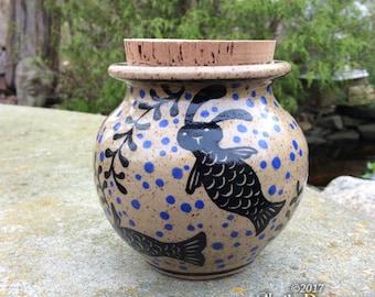 MerBunny Jar - jar with lid, coin stash, piggy bank, handmade ceramic, rabbit, mermaid