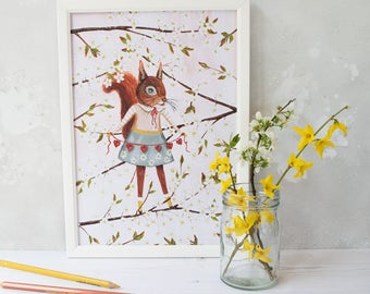 Red squirrel with spring blossoms illustration print. A4 unframed. Spring home decor. Wall art. Perfect for displaying in a children's room.