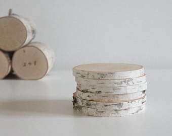 white birch wood coasters - set of 6, modern rustic coasters, wood slice coasters,  tree branch coasters