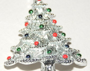 Christmas Tree Brooch Signed
