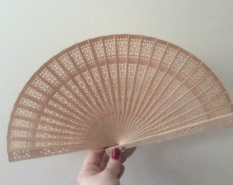 Regency/Victorian Style Fan. Natural Wooden Fretwork.