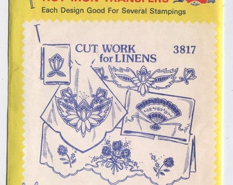 Various FLOWERS Designs - Hot Iron Embroidery Transfers - Aunt Martha's - New & Uncut in OPENED Packaging - On Sale!
