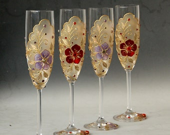Hand painted champagne glasses, set of 4