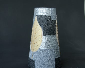 Vase, Autumn Leaves, Hand Painted , Glass Vase, Silver Gold