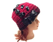 Red Bow Hat, Goth Hat, Red and Black Ombre, Lace Up Beanie, Teen Girl Gift, Hat with Bow, Teen Girl, Gothic Lolita, Ombre Hat, Black Bow Hat