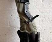 Leather Mini Knee Brace - Black - steampunk - burning man - apocalypse - mad max, Please read Description for size