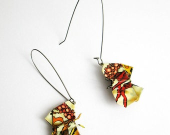 COMIC BOOK origami moth dangle earrings