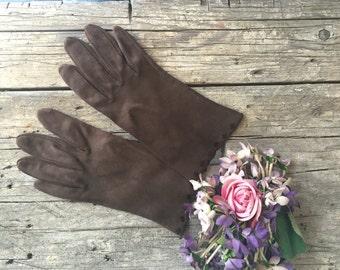 Vintage Brown Doeskin Gloves, 1950s