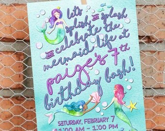 Mermaid Birthday Invitation - Mermaid Birthday Party - Mermaid Theme Birthday - Mermaid Invite - Girl Birthday - Customize - Printable - 5x7