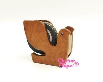 Bird Washi Tape Dispenser / Wood Tape Holder / Tape Cutter - Natural Color