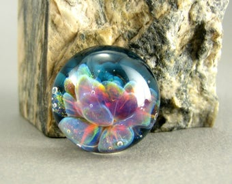 Sea Lotus Lampwork Glass Cabochon - Jewelry Making Supply - 17mm