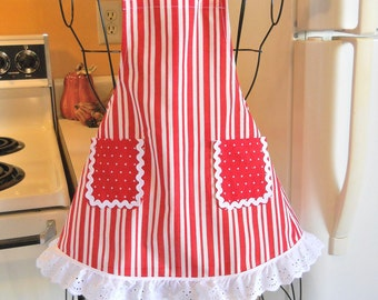 Girls Toddler Infant Baby Candy Cane Striped Christmas Apron