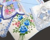 Lot of 5 Mixed Hankies Blue Roses Iris 19th Century Ladies Crochet Lace Scalloped Hand Rolled Edges Excellent to Very Good Vintage Condition