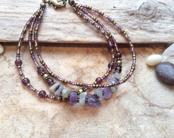 Amethyst & Labradorite Gemstone Triple Layer Bracelet, Boho Bracelet