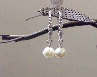Wedding Pearl Earrings, Wedding Earrings pearl, Pearl and silver earrings, wedding ivory pearl, AAA pearl wedding, bridesmaid pearl earrings