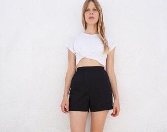 Shorts Black High Waist Cotton Sz. 25