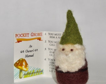 Pocket Gnome - Needle Felted Gnome - Felt Gnome - Brown Coat Green Hat