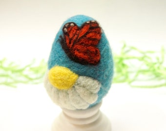 Needle Felted Egg - Monarch Butterfly -  Easter Egg