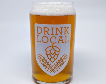 Drink Local - 16oz can-shaped glass