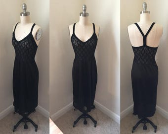 Black Sheer Stretch Lace Nightgown // 1980s Negligee Sz S ILGWU Racerback