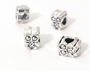 Owl Beads, Extra Large Hole, Antique Silver Metal, 11x9x8mm, 5mm Hole, Lead Free, Nickel Free, Lot Size 8 to 30, #1573 BH