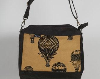 Waxed Canvas Bag With Hot Air Balloon Screen Print.  Hand Made An Ready To Ship.