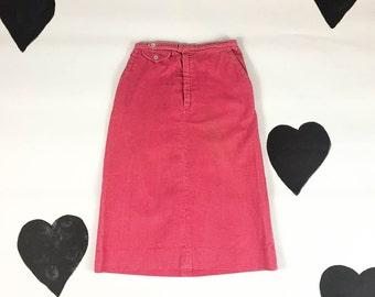 70's candy pink corduroy skirt 1970's mid knee length straight skirt / cute / preppy / cotton / xxs / 26 inch high waist / secretary / pinup