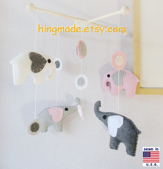 Baby Crib Mobile, Nursery Mobile, Room Decor, Elephants Mobile, Polka Dot Pink Gray White Elephants theme,Custom Mobile