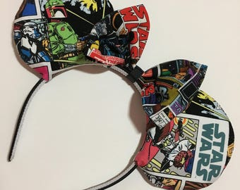 Star Wars Comic Panels Mouse Ears with Bow - Mad Ears - MADE TO ORDER