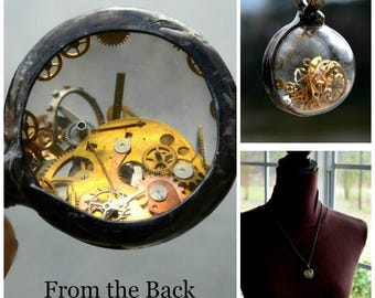 Hand Blown Glass holds Antique Watch Parts, Watch Parts are Magnified when Viewed from Back, Watch Parts Necklace, Watch Necklace (2726)