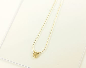 Coral gold-plated necklace, snake chain, adjustable, handmade in France