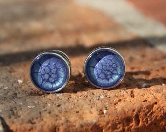 Handmade Custom Solid Pewter & Resin Cufflinks in Astral Blue - Husband, groom, anniversary, birthday, bride, wedding