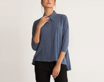 Blue collar top, oversize blouse, buttoned down,sale, oversize formal shirt, 3/4 sleeves, plus size, asymmetrical, loose fit, long shirt